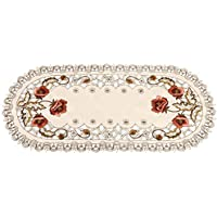 Embroidered Table Runner Red Floral Flower Hollow Tablecloth Dining Table Runner Wedding Party Hotel Home Decor (Oval)