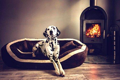 tierlando® PEPPER Orthopädisches Hundesofa in Kunstleder | 13cm mächtige Matratze VISCO | XXL-Kuschel-Rand | Schwarz 110cm L | Anti-Haar | Formstabil - 5