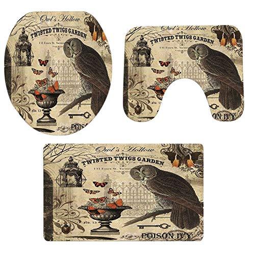 ODJOY-FAN Niedlich Tier Gedruckt Mat,Halloween Toilette Teppich 3-Teiliges Set,Europa Stil Rug Bad Rutschfest Sockel Teppich + Deckel Toilette Abdeckung + Bad Matte (A,1 PC)