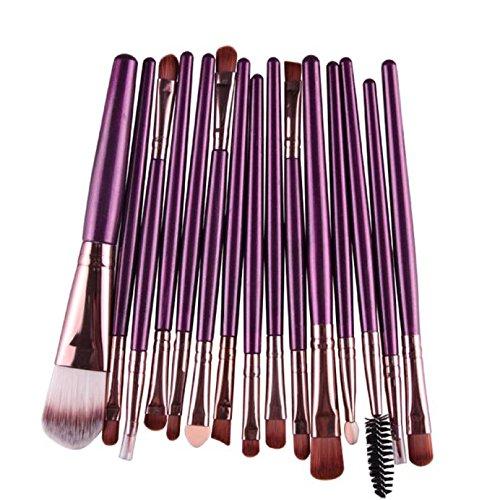 15 pcs/ensembles Œil Ombre Fondation Lèvre de sourcil Brosse Maquillage Brosses Trop (Violet)
