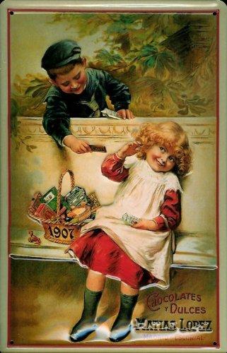 Blechschild Lopez Chocolates Kinder Schokolade Schild Nostalgieschild Reklameschild