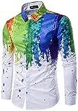 WHATLEES Herren Urban Basic Schmale Passform Hemd mit BUNT Farbspritzer Muster