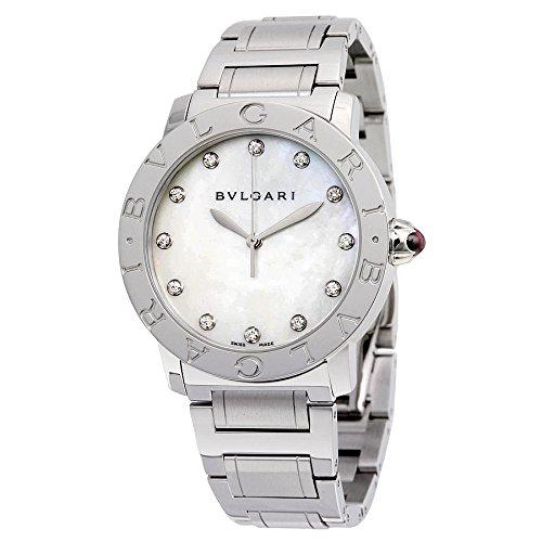 Bvlgari blanco madre de perla diamante 37mm reloj de pulsera para mujer 101975