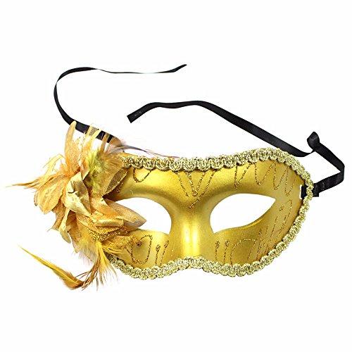 ParttYMask Maskerade,Karnevalsball Maske Prinzessin gemaltes halbes Gesicht für Männer und Frauen gemalte Seitliche Blumenmaske gelb Masquerade