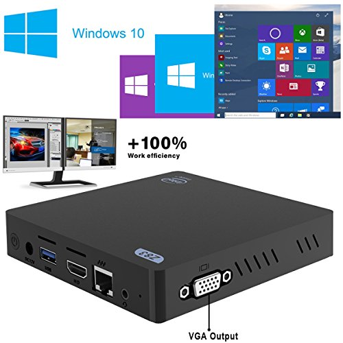 Maxesla Mini PC Con Soporte para Windows & Linux Doble Pantalla Intel Atom x5-Z8350 Procesador 2GB + 32GB Ultra Compacto Mini-ordenador de Sobremesa Intel HD Graphics / 4K / 1000 Mbps LAN / 2.4+5.8G Dual-Band WiFi / Bluetooth 4.0 / USB / HDMI / SD / VGA