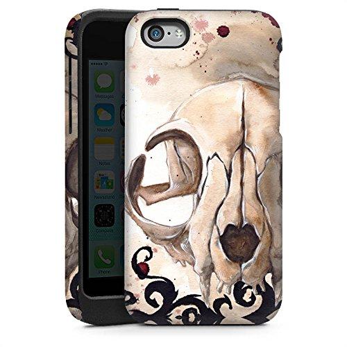 Apple iPhone 4 Housse Étui Silicone Coque Protection Crâne de chat Tête de mort Chat Cas Tough brillant