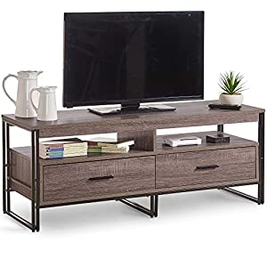VonHaus Rustic TV Unit 120cm Cabinet With 2 Drawers – Modern Industrial Design Wooden Effect TV Stand/Console Storage/Media Unit/Entertainment Centre – Living Room or Lounge Furniture