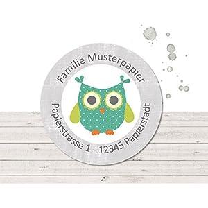 Adressaufkleber • Eule türkis-grün • 24/120/240 Stück (A54) Sticker - kunterbunte Aufkleber vom Papierbuedchen