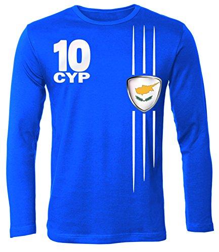 FOOTBALL WORLD CUP - EUROPEAN CHAMPIONSHIP - ZYPERN FANSHIRT Uomo manica Lunga Maglietta Taglia S to XXL vari colori S-XXL Blue