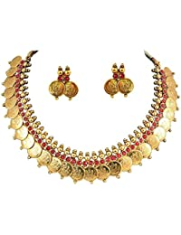 Aabhu Traditional Pearl Studded Temple Coin Ginni Necklace Jewellery Set With Earrings Jewellery For Women And...