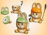 Frühstücks-Set 3-teilig Hase als Eierbecher, mit Salzstreuer und Löffel, Setpreis 2 Stück