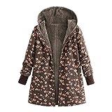 Luckycat Damen Winterjacke Windjacke Mäntel Womens Warm Outwear Blumendruck Mit Kapuze Taschen Vintage Oversize Oberbekleidung Für Winter/Herbst
