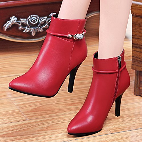GTVERNH Zunahme der Weiblichen Samt Stiefel Winter Frauen Stiefel, Die in Den High-Heel Schuhe Gebrochene Frau 37 Rote Feder Schuhe.