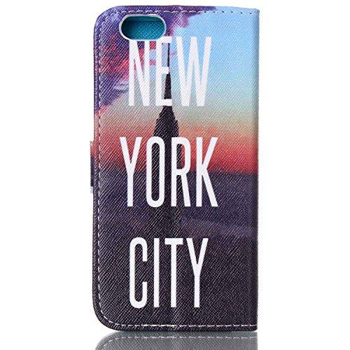 iPhone 5C Wallet Case Cover - Felfy Ultra Slim Cuir Coque Pour Apple iPhone 5C Flip New York City vue Motif PU Étui Portefeuille Housse Etui Holster + 1x Noir Touch Stylus + 1x Rouge Hibou Anti Plug New York City