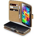 Terrapin Handy Leder Brieftasche Case Hülle mit Kartenfächer für Samsung Galaxy S5 Schwarz mit Hellbraun Interior
