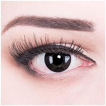 Meralens Black Out Kontaktlinsen mit Behälter ohne Stärke, 1er Pack (1 x 2 Stück)