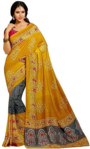 Sarees (Woman`s Clothing Saree For Woman Latest Desigen Wear Sarees Collection In Yellow-Color Bhagalpuri Silk Material Latest Sarees With Designer Blouuse Free Size Beautiful Bollywood Sarees For Wom