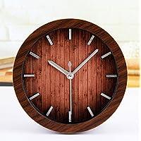 ZHUNSHI Wecker Texture Retro Holz Kunst Desktop Clock, Durchmesser Von Ca. 12 Cm, Braun preisvergleich bei billige-tabletten.eu