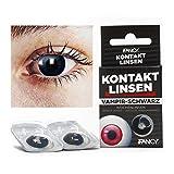 Halloween Kontaktlinsen VAMPIR in Schwarz - ohne Stärke - 2er Pack in Top-Markenqualität - angenehm zu tragen - perfekt zu Halloween oder Karneval