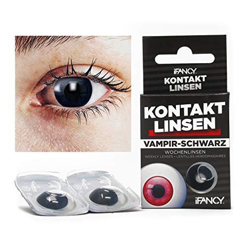 Halloween Kontaktlinsen VAMPIR in Schwarz - ohne Stärke - 2er Pack in Top-Markenqualität - angenehm zu tragen - perfekt zu Halloween oder ()