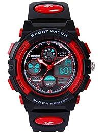 Hiwatch Montres de Sport pour Enfants Montre-Bracelet Numérique Etanche Rouge