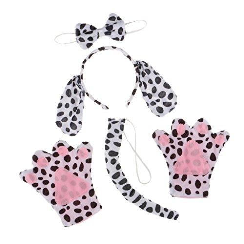 Homyl 4 / Set Dalmatiner Haarreif für Junggesellinnenabschied und Weihnachten, mit Ohren, Pfote, Fliege und Schwanz