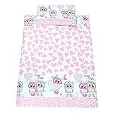 TupTam Kinderbettwäsche Set Gemustert 2 teilig, Farbe: Eulen mit Herzen / Rosa, Größe: 135x100 cm