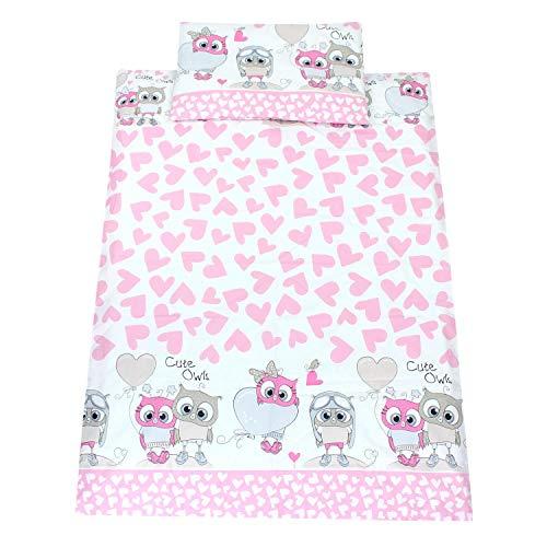 TupTam Kinderbettwäsche Gemustert 2 teilig, Farbe: Eulen mit Herzen/Rosa, Größe: 135x100 cm
