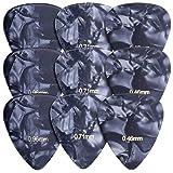 kwmobile Médiator guitare - Lot 9x médiator de 3 épaisseurs 0,46mm/0,71mm/0,96mm - Plectre guitare acoustique électrique classique basse ukulélé