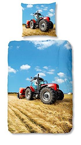 Aminata Kids - Kinder-Bettwäsche-Set 135-x-200 cm Traktor-Motiv Trecker Bauernhof 100-% Baumwolle rot-e-r blau-e -