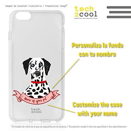 Funnytech® Funda Silicona para BQ Aquaris M5 [Gel Silicona Flexible, Diseño Exclusivo] Perro Dalmata Fondo Transparente Personalizable