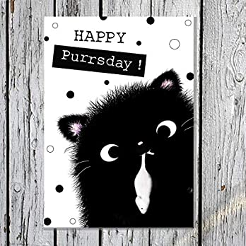 "TinyTami ★ Süße Katzen Postkarte ★ Kater MOO ★"" Happy Purrsday"" ★Geburtstagskarte ★ schwarz ★ süß ★Katze★ 100% Handmade"