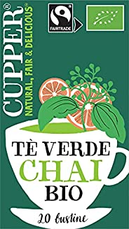 Cupper Tè Verde Chai Biologico Fairtrade (confezione da 20 bustine)