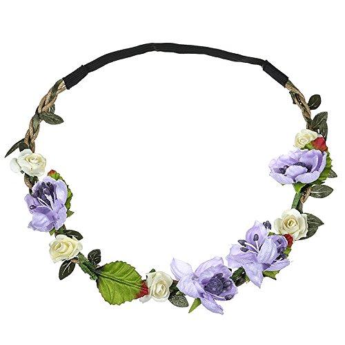 Yvelands Blumenkranz,Blumen Stirnband Blumenkrone Boho Blumen Haarkranz Brautbrautjungfern Haarband für Damen Mädchen Festival Hochzeit Beach Party(Lila)