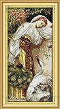 yeesam Art® New Kreuzstich Kits anspruchsvoll–Mädchen mit Gans 14Count 41x 77cm Weiß Leinwand, Naht Christmas Gifts