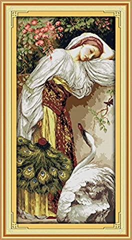 YEESAM ART® New Cross Stitch Kits Advanced - Girl With Goose 14 Count 41x77 cm White Canvas - Needlework Christmas Gifts