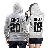 King Queen + Wunschnummer Set 2 Hoodies Pullover Pulli Liebe Love Pärchen Couple Schwarz (King M + Queen S)