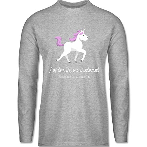 Shirtracer Statement Shirts - auf dem Weg ins Wunderland - Herren Langarmshirt Grau Meliert