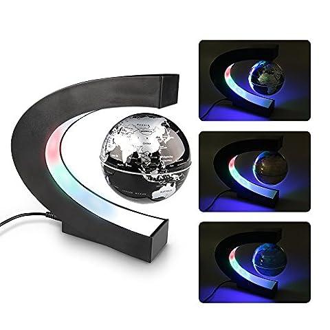 Créatif Globe, Easy Eagle Magnétique Lévitation Terrestre Lumineux Flottant Globe avec Lumières LED Éducation Décorations Bureau Cadeau 3'' Noir