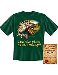 Lustige Angler Sprüche Fun Tshirt! Zum Fischen geboren, zur Arbeit gezwungen! - Angeln & Fischen Motiv Shirt von Goodman®