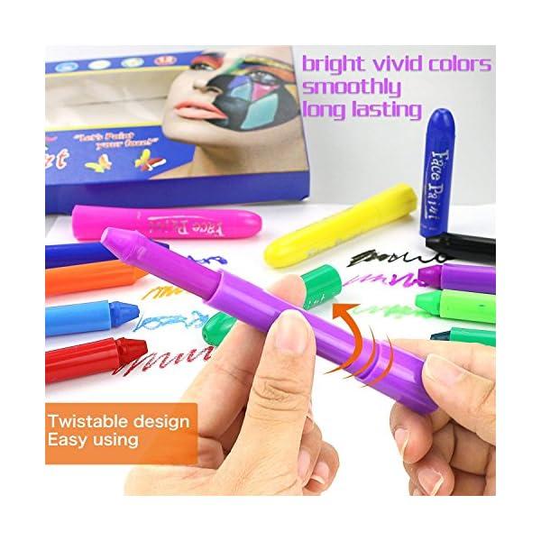 Face Painting Trucchi per Feste Bambini,Buluri 12 Pennarelli per Colorare La Faccia Body Paint Kit Trucchi per Bambini… 3 spesavip