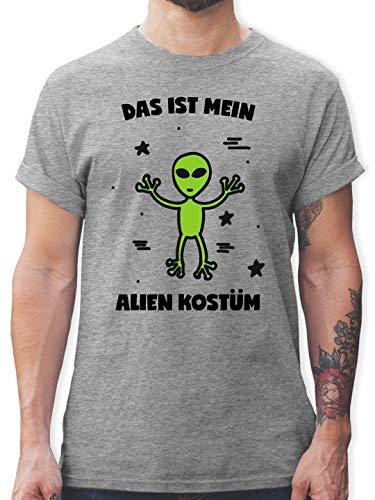 Karneval & Fasching - Das ist Mein Alien Kostüm - S - Grau meliert - L190 - Herren T-Shirt Rundhals