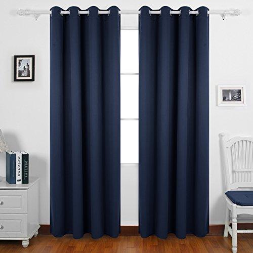 Deconovo tende oscuranti termiche isolanti tende oscuranti con occhielli 140x260cm blu navy 2 pannelli