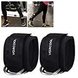 VORCOOL 2PCS Ankle Straps for Cable Machines Weightlifting Gym Workout Fitness Double D-Ring Neoprene Padded Ankle Cuffs for Legs, Abs and Glute Exercises with Carry Bag Fits Men&Women