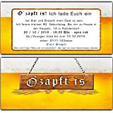 Einladungskarten zum Geburtstag (60 Stück) Bier Oktoberfest Einladung Bayern Karten O Zapft is Hüttengaudi bayrisch