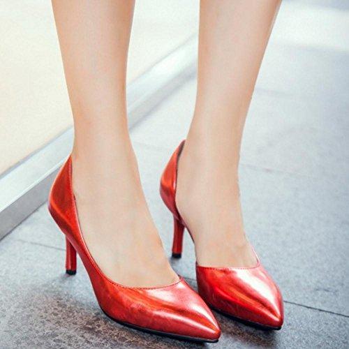 TAOFFEN Damen Simple Kitten Heel Schlupfschuhe D'Orsay Pumps Mit Med Absatz Rot