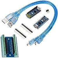 Anpro 2PCS Board Arduino NanoV3.0 ATMega328P CH340G,2Pcs Câbles USB, 1PCS Nano Adaptateur de Terminal,3PCS Soudures des Pins pour Arduino DIY