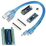 Anpro 2Pcs Arduino Nano V3.0 ATMega328P CH340G Microcontroller Compatible Board,1PCS Nano Adaptateur de Terminal,2Pcs Câbles USB Arduino