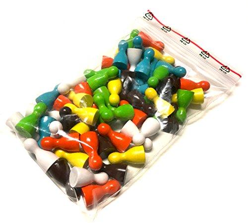 Preisvergleich Produktbild Pöppel-Mischung SEVENTIES,  Spielfiguren aus Holz für Brettspiele,  besondere Farben,  Halmakegel Gr. 12 / 24 mm,  60 Stück (6x10),  Farben: weiß,  gelb,  orange,  grün,  petrol,  braun (70er Jahre Farben)