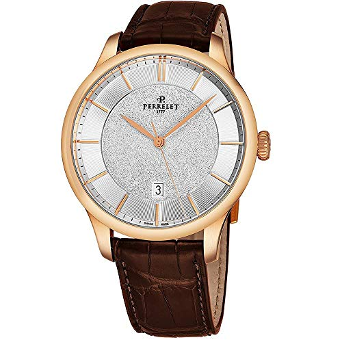 Perrelet Men's 42mm Brown Alligator Leather Band Automatic Watch A3044-1